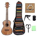 Guitarra acústica Ukelele electroacústico de Color Madera de 24 Pulgadas con Bolsa/Cuerdas/cejilla/Correa/Guitarra de Martillo de Dedo