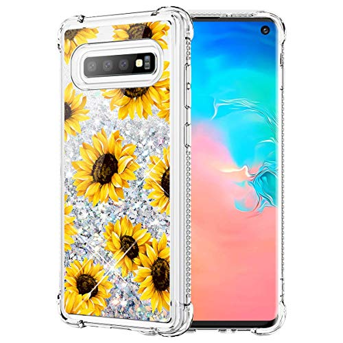 Caka Glitter Case for Galaxy S10 Case Bling Flower Sunflower Luxury Fashion Flowing Liquid Floating Sparkle Glitter Soft TPU for Women Girls Protective Case for Samsung Galaxy S10 (Sunflower)