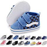 Baby Girls Boys Canvas Sneakers Soft Sole High-Top Ankle Infant First Walkers Crib Shoes (0-6 Months Infant, E/Blue)