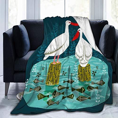 Best Fleece Bed Blankets, Bird Flowers Teacup Pelicans Goldfinch Swans Visual Art Graphics Decorative Throw Blankets, Easy Care Super Cozy Family Blanket for Kids Home Kindergarten - 50'x40