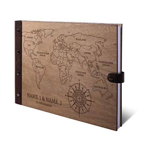 Gastenboek Okoume houten gravure met houten kaft van echt leer, 72 vellen, 144 pagina's A4 liggend, 305 x 215 mm, wereldkaart Holzcover Buch quer (302 x 215 mm)