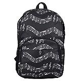 Fransande - Mochila musical para notas musicales, bolsa de tela Oxford, mochila de almacenamiento, arte Departamento, color negro