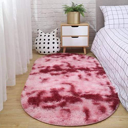 LLAAIT Teppich Schlafzimmer Ovaler Nachtteppich Nicht fusselfrei Nicht verblassende Decke Wohnzimmer Sofa Couchtisch rutschfeste Matte Boden Zimmer Plüschteppich, dunkelrot, 50x80cm