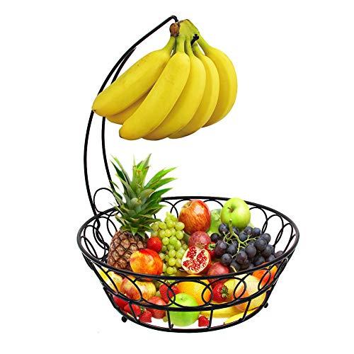 XNDCYX Frutera De Metal con Gancho para Colgar Racimos De Plátanos, Cesta De Frutas con Soporte para Plátanos para Encimera para Verduras Y Frutas Frescas