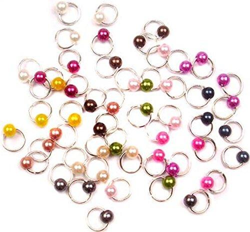 1 großes Straßrad mit 120 Stück silberfarbenen DANGELS/PIERCINGS: rund mit kleiner Perle (12 Farben je 10 Stück)