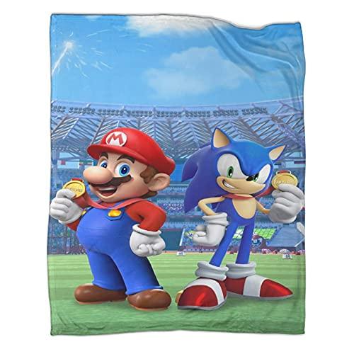 DRAGON VINES Juego Manta Super Mario Bros Mario Sonic The Erizo Manta de felpa para todas las estaciones adecuadas para mujeres, hombres y niños 180 x 230 cm