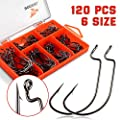 Rodeel 42-120Pcs Hooks High Carbon Steel Fishing Hooks Offset,Long Shank,weedless hooks Olecranon Hook