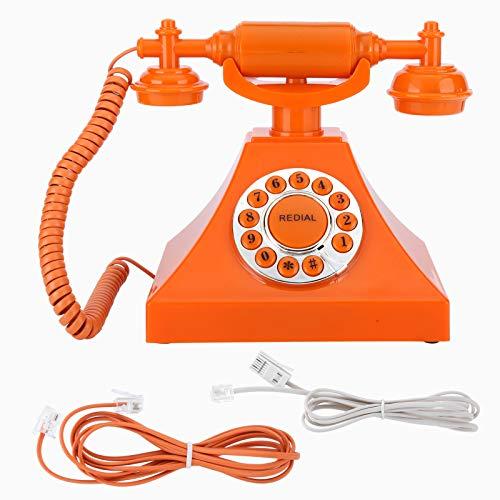 DERCLIVE Teléfono retro de alta definición con cable teléfono grande botón transparente para decoración del hogar oficina