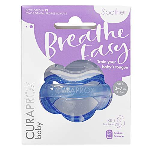 CURAPROX Baby Schnuller, blauer Schnuller, mit Aufbewahrungsbox, Größe 0; 3 bis 7kg bzw. 0-7 Monate, Pacifier, Soothie, blau, 1 Stück, 22 g