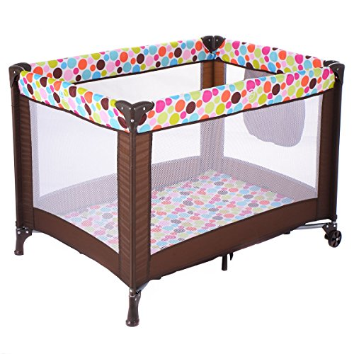 Great Price! DreamHank Baby Foldable Playard Sweet Wonder Bassinet Travel Portable Bed Playpen Toddler