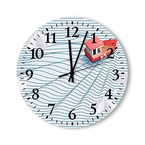 Reloj de pared redondo de 12 pulgadas, rústico, moderno, de madera, de papel, arte de barco rojo y mar a rayas, reloj de pared para decoración de sala de estar, madera, para cocina, dormitorio, hogar