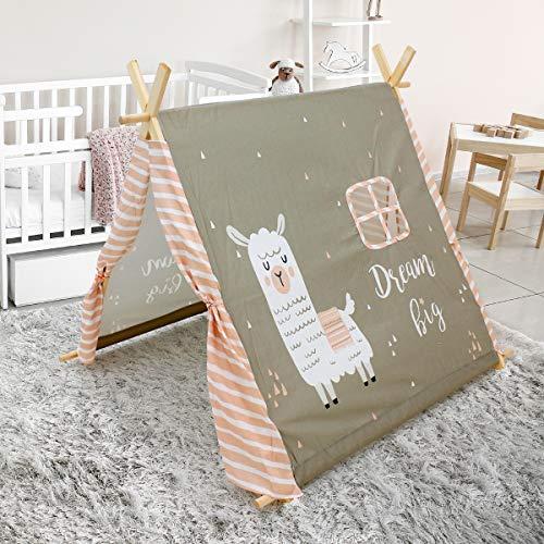 ECD Germany Spielzelt für Kinder 117 x 108 x 105 cm mit 2 Türen und einem Fenster Lama Motiv Warm-Grau mit Tragetasche - drinnen draußen - Kinderzelt Babyzelt Zelt Spielhaus Spielzeug Geschenkidee