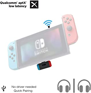 Golvery Bluetooth Adapter for Nintendo Switch, AptX Low Latency Wireless Audio Transmitter with USB C Connector, Supports in-Game Chat & Dual Link, Compatible with Bose Sony Airpods TWS Headphones