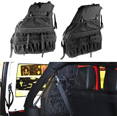 SUNPIE Roll Bar Storage Bag Cage for 2007~2018 J eep Wrangler JKU 4 Doors with Multi-Pockets & Organizers & Cargo Bag Saddlebag Tool Kits Holder