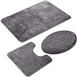 Du hui Badematten Set 3 Stück, Nicht Beleg Badmatte Set Super Soft Pedestal und Badteppich, Badvorleger + Sockel Mat + Toilettensitzabdeckung Mat Removable maschinenwaschbar (Color : Grau)