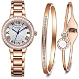 MAMONA Women's Watch Bracelet Gift Set Crystal Accented Stainless Steel L68008RGGTS