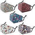 JB London Face Masks | Reusable Washable Cotton Premium Fabric Face Masks | Pack of 5 | UK Seller (Floral - F)