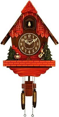 Sinix SN602C Handcrafted Antique Wooden Cuckoo Pendulum Wall Clock, Orange Brown
