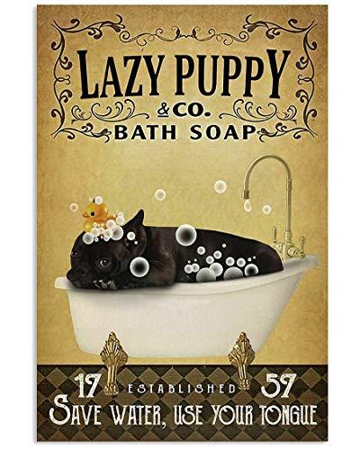 SIGNCHAT Yellow Bath Soap Company French Bulldog Poster Art Print Decor Retro Art Wall Decor Metal Sign Poster 8x12 inch