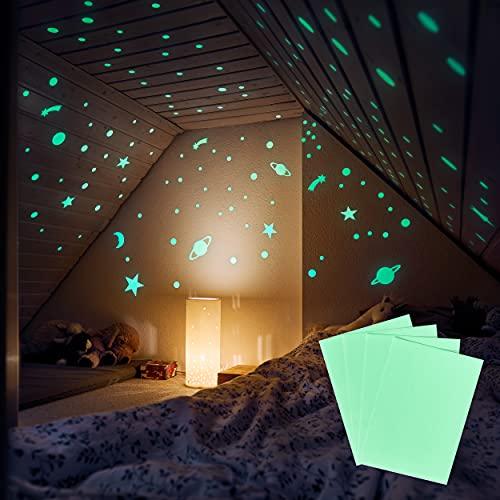 M&A Kids 4 leuchtende Bastelblätter selbstklebend – Bastle Sterne, Planeten, Sternschnuppen oder was immer du magst – Fluoreszierende Folie – Wandsticker Kinderzimmer