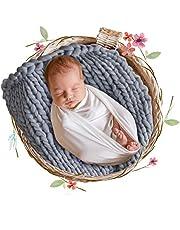 DrCosy bastant garn baby foto filt nyfödd stickad filt yoga skrymmande stickad sällskapsdjur säng stol soffa dyna baby foto rekvisita matta överkast 50 cm x 50 cm 50cmx50cm Grå