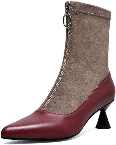 ZHRUI Bottes élastiques Femmes Chaton Talon Chaussures en Cuir à glissière (Couleuré   Rouge, Taille   EU 37)
