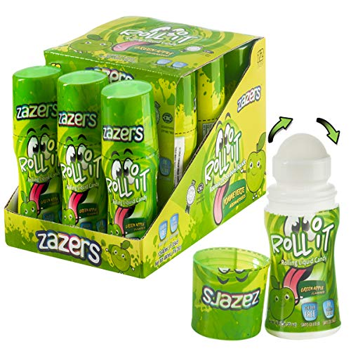 Green Apple Flavored Sour Rolling Liquid Candy - 12 Pack of Roll-It Bottles Zazers Licker Candy - Gluten-Free and No Coloring Added (Kosher, NET WT 16.2 OZ, 480mL) from Oppenheimer USA