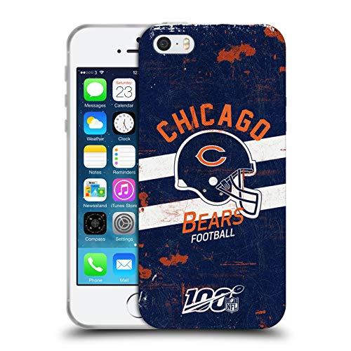 Head Case Designs Licenza Ufficiale NFL Casco Aspetto Sdrucito 100esimo Chicago Bears Logo Art Cover in Morbido Gel Compatibile con Apple iPhone 5 / iPhone 5s / iPhone SE 2016