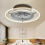 Ventilador de techo LED, lámpara invisible, lámpara de ventilador para dormitorio, restaurante, salón, moderno, minimalista, con ventilador controlado a distancia, regulable