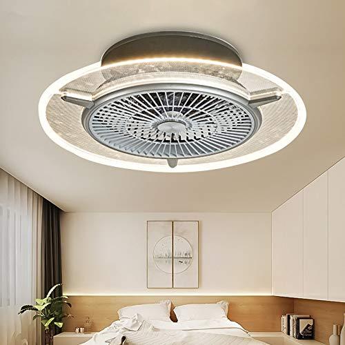 Ventilador de techo con luz led, lámpara invisible, lámpara con ventilador para dormitorios, restaurantes, salones, moderno, minimalista, con ventilador controlado a distancia, regulable