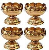 Craftsman (10Pc) Pure Virgin Brass Diwali Puja Jyoti Diya Indian Pooja Oil Lamp Dia. Deepawali Diya/Oil Lamp/Candle Tea Light Holder/Diwali Decoration. Indian Gift Items