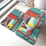 Juego de alfombras de baño antideslizantes de 3 piezas de lata de sardinas, almohadillas antideslizantes para sala de estar, alfombrilla de baño + tapa de inodoro