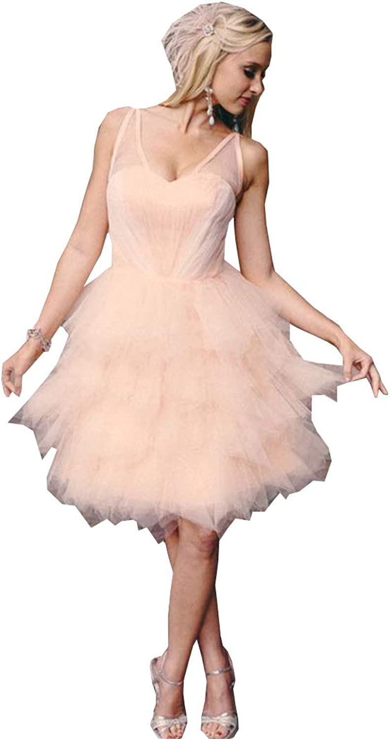 Ellystar 2018 New Sweet Homecoming Dress Pink Puffy Lace up Cocktail Dress