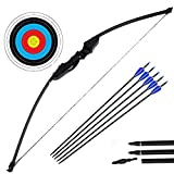 Archery Takedown Recurve Bow and Arrow Set Hunting Long Bow Kit for Outdoor Shooting Training(40LB,5 Arrows,6 Target Faces)