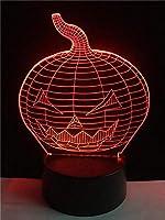 YLL 3Dナイトライト ハロウィーンパンプキンイリュージョンランプLEDデスクテーブルUSBバーパーティーデコレーション7色リモコンなし