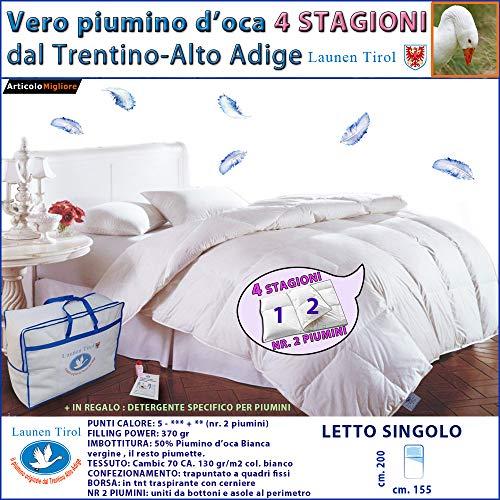 Piumone, Piumino Invernale 4 STAGIONI SINGOLO 150 x 200 in vera Piuma d' Oca - LAUNEN TIROL - dal Trentino Alto Adige - Caldissimo!