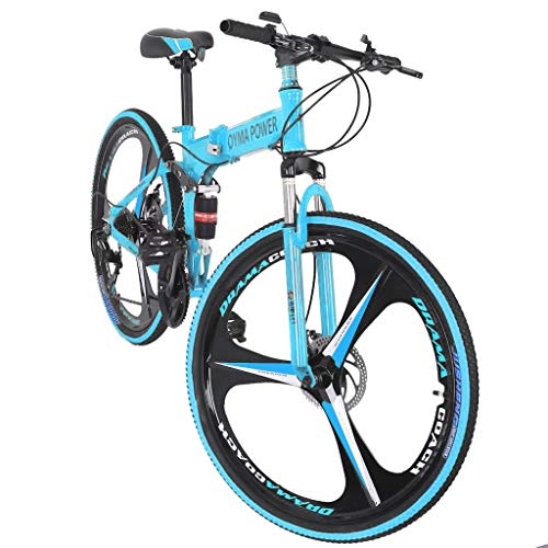 Outroad Mountain Bike,26in Folding Mountain Bike, Shimanos 21 Speed Bicycle Full Suspension MTB Bikes by Yuxikong