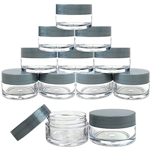 Beauticom 20 gram/20ml Empty Clear Small Round Travel Container Jar Pots with Lids for Make Up Powder, Eyeshadow Pigments, Lotion, Creams, Lip Balm, Lip Gloss, Samples (12 Pieces, Gray)