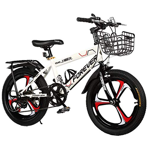 seveni Kids' Bikes, Children's Bicycles 18-inch Sports Bikes 6-12 Year Old Mountain Strollers Boys Riding Bicycles Outdoors Giving Children The Best Gift (Color : White, Size : 18in)