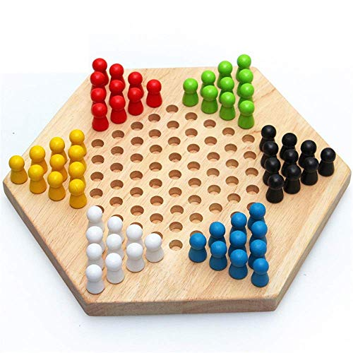 Dammen Wood Chinese Checkers Set Traditioneel Hexagon Checker Strategy Game Met Game Board Of Kinderen Board spel for de hele familie bordspellen aijia ( Color : True Color , Size : Free size )