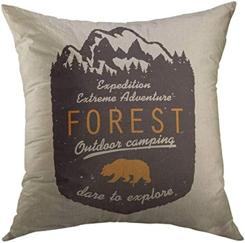 Mugod Forest Decorative Throw Pillow Cover for Couch Sofa Adventure Expedition with Mountains product image