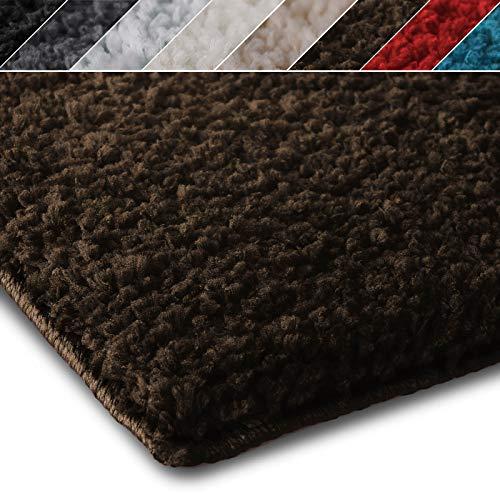Shaggy Teppich Prestige | Flauschiger Hochflor Langflor | Zur Dekoration von Wohnzimmer, Schlafzimmer, Kinderzimmer | schadstoffgeprüft | 8 Moderne Farben in 5 Größen (70x130 cm, braun)