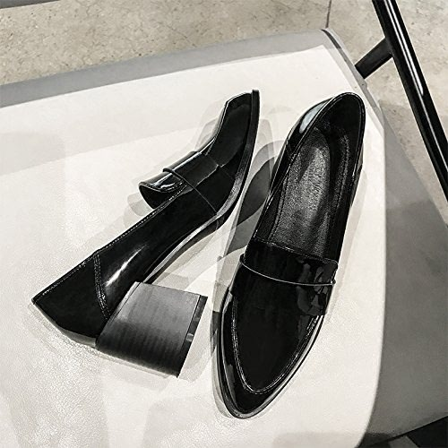 Xue Qiqi Escarpins Astuce épais avec des Chaussures Simples Sauvages Paresseux Pieds Chaussures, 39, Noir