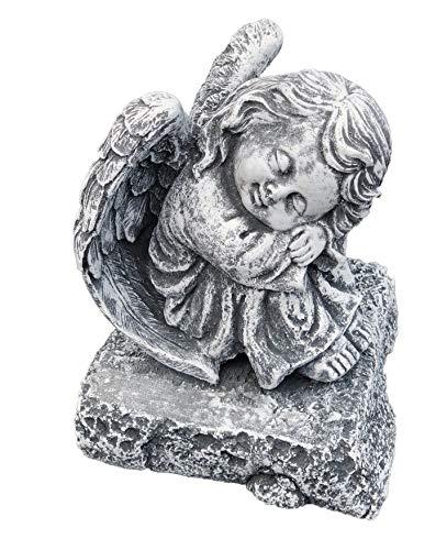 Stone and Style Steinfigur Engel auf Fels sitzend, massiver Steinguss, Frost- und wetterfest bis -30°C