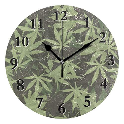 Pac Mac 3D Marihuana Ganja Weed - Reloj de pared redondo sin costuras, 9,8 pulgadas, funciona con batería, analógico, silencioso, de cuarzo, para el hogar, la oficina, la escuela