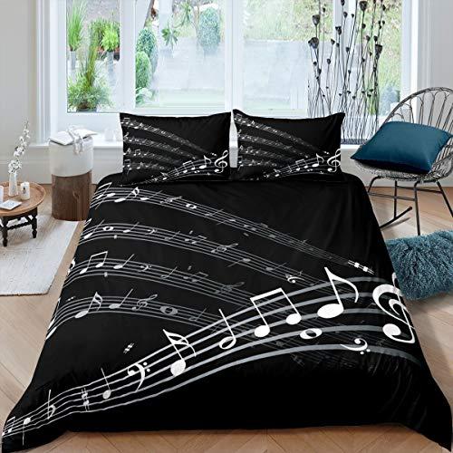 Loussiesd - Set di biancheria da letto con note musicali, per bambini, adulti, con copripiumino a tema musicale, colore: bianco e nero, 3 pezzi con 2 federe per letto king size