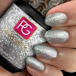 Rosa gellac # 129Fabulous Silver Glitter de European Soak Off UV/LED Gel polish (15ml/0.5FL oz) by Rosa gellac