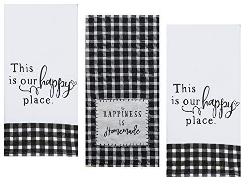 3 Farmhouse Country Themed Decorative Cotton Kitchen Towels Set with Black and White Print   1 Tea and 2 Dual Purpose Towel for Dish and Hand Drying   by Kay Dee Designs