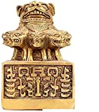 Fu Foo Dogs Lion Decoration Chinese Fengshui Brass Nine Lions Artwork Suitable Antique Carved Decoration Attract Wealth and Good Luck Resist Evil Energy Home and Office 0525