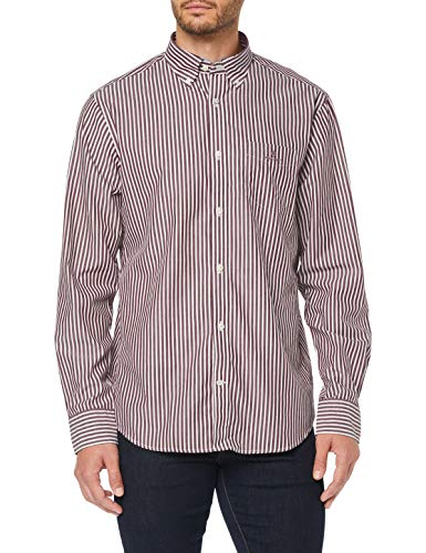 GANT Herren The Broadcloth Stripe REG BD Hemd, Port RED, XL